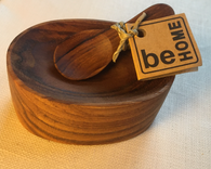 Wooden Oval Salt or Spice Holder with spoon