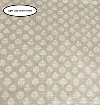 Coated Light Grey Flowers Tablecloth