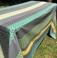 Coated Stripe Grey Yellow Turquoise Tablecloth