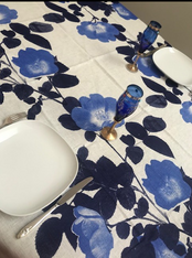 Blue Flowers on white Tablecloth