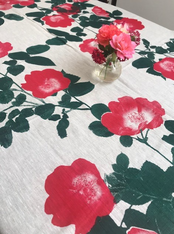 Green and Pink Flower Tablecloth