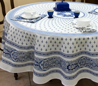 Bastide White/Blue Coated Tablecloth