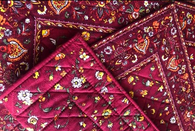 Dark Red with Flowers Quilted Placemats