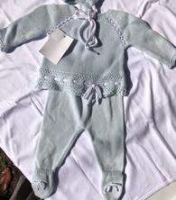 Knit Cotton Newborn Blue Sweater and Pants
