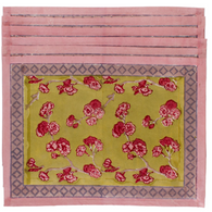 Cherry Blossom Green Pink Placemat, Set of 6