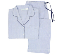 Cotton Long Sleeve Pajamas - Blue with stripes, Small