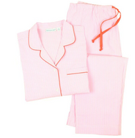 Cotton Long Sleeve Pajamas - Pink with Stripes, Large