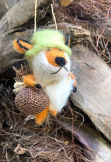 Boiled Wool Ornament - Travelling Fox