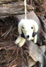 Boiled Wool Ornament - White Dog