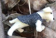 Boiled Wool Ornament - Dog Wearing Tweed