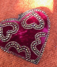 Red Heart Ornament - With Hearts!