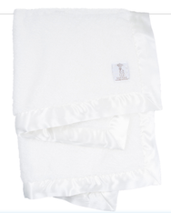 'Little Giraffe' Chenille Blanket- White