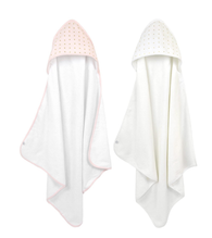 'Just Born' Pink and White Hooded Towel Set 2-pack