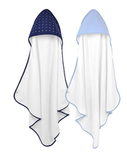 'Just Born' Blue and Navy Hooded Towel Set 2-pack