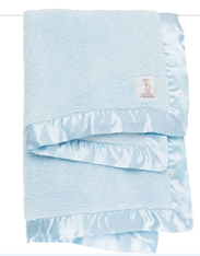 'Little Giraffe' Chenille Blanket- Blue