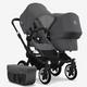 grey melange sun canopy, grey melange fabrics, black chassis