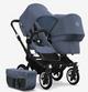 blue melange sun canopy, blue melange fabrics, black chassis