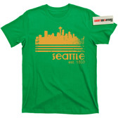 City of Seattle Washington Skyline Space Needle Supersonics Tee T Shirt