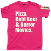 Pizza Cold Beer and Binge Watching Horror Scary Movies tee t shirt