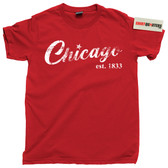 City of Chicago Illinois IL Chi Town Skyline Deep Dish Pizza tee t shirt