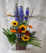 Sunshine Spirit Sunflower and Red Rose Bouquet by Enchanted Florist Pasadena TX - Get Well and Sympathy flowers delivered in Pasadena Texas, Houston, Deer Park, and local cities, hospitals, and funeral homes. Best  flower shops in Deer Park TX for fresh fast delivery. RM134