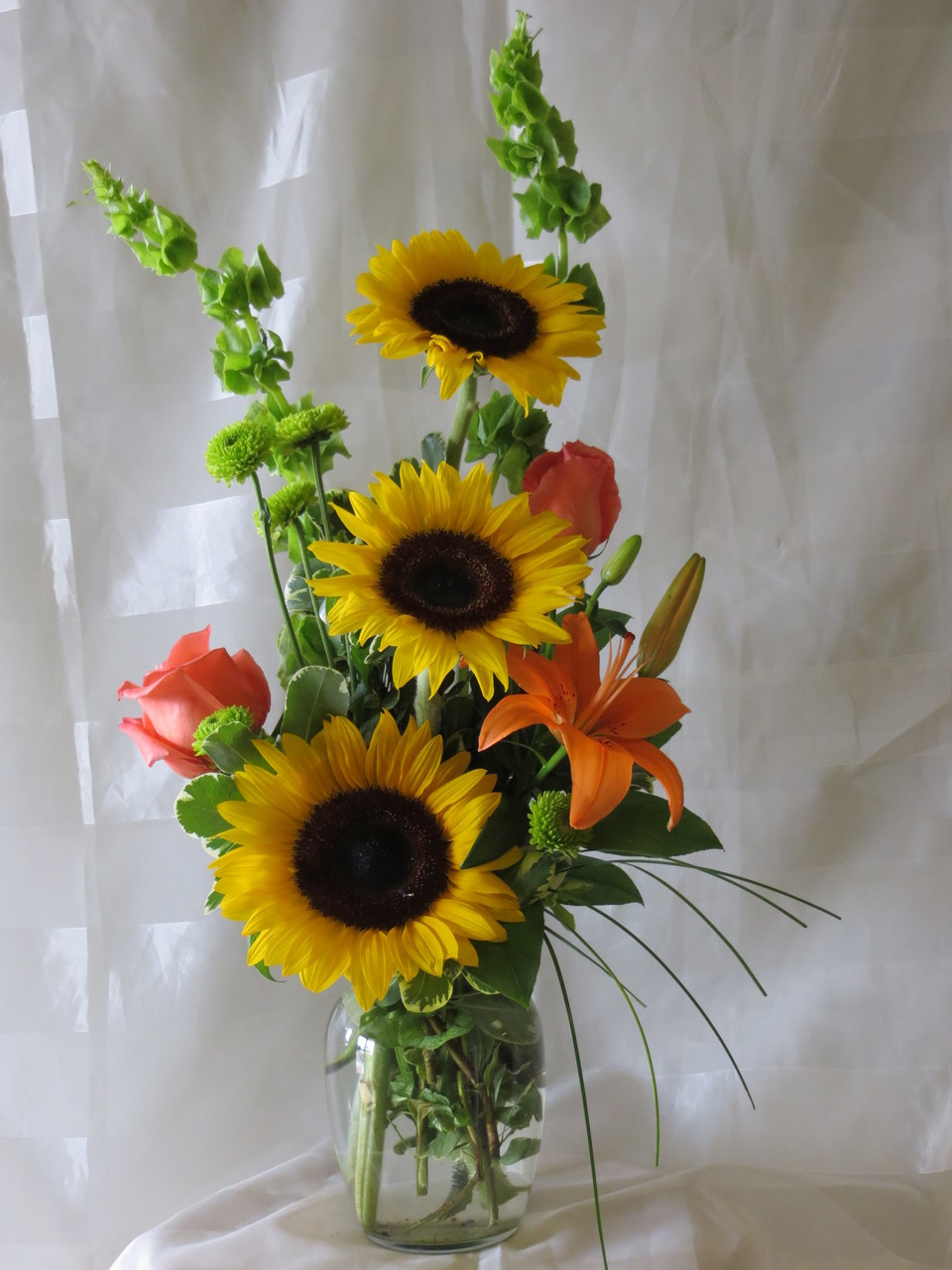 Lemon drop cheerful flowers for la porte delivery lemon drop sunflower and orange rose flower bouquet by enchanted florist pasadena tx get well izmirmasajfo