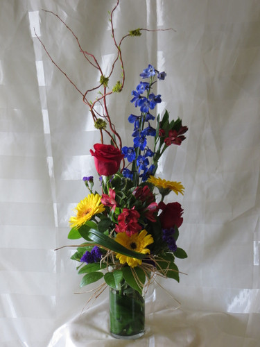 Beautiful Blue Bella and Red Rose Bouquet by Enchanted Florist Pasadena TX - Happy Birthday flowers delivered daily in Houston Texas, Deer Park TX, Pasadena TX, and surrounding zip codes. Call our store for your Deer Park flowers RM139