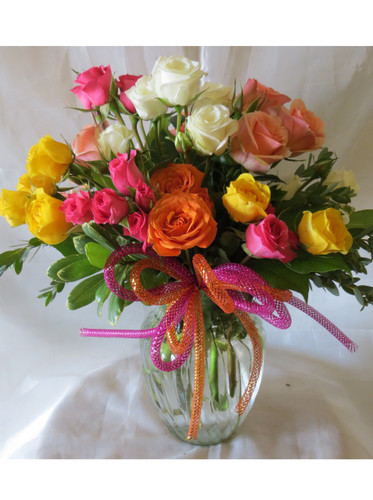 Simply Spray Roses Bouquet of Flowers by Enchanted Florist Pasadena TX - Get well flowers delivered in and around the Houston Texas area. Beautiful and simple orange spray roses, yellow spray roses, pink spray roses, white spray roses in a clear vase with a fun tube bow for same day flower delivery in Houston TX by a real flower shop. RM142