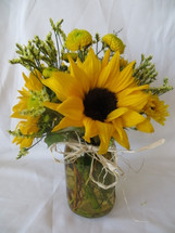Country Lemonade Sunflowers in Mason Jar by Enchanted Florist Pasadena TX - Wildflowers in mason jars for any occasion delivered daily in Pasadena Texas, Houston, Channelview TX 77530 and surrounding areas. RM144