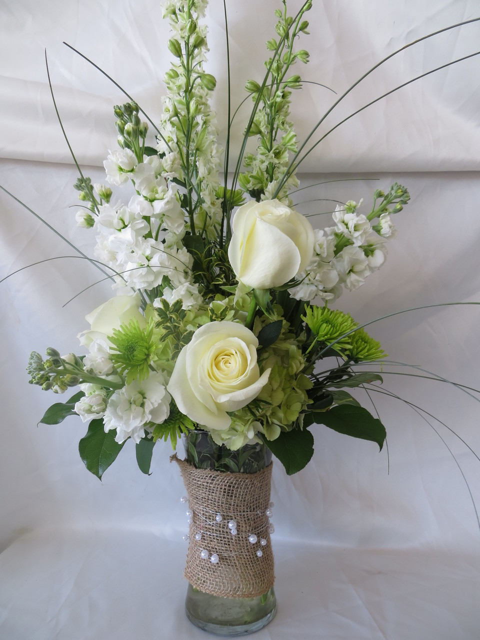 Burlap and pearls white rose flower bouquet send flowers burlap and pearls white rose flower arrangement by enchanted florist pasadena tx send flowers today izmirmasajfo