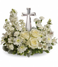 Divine Peace Crystal Cross Sympathy Flowers by Enchanted Florist Pasadena TX. All white roses and other flowers in a sympathy container with a clear cross for the family to keep. Crystal cross flower arrangement delivered in Houston TX and surrounding areas. RM528