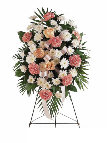 The Gentle Thoughts of Her Sympathy Standing Spray by Enchanted Florist will be a gentle reminder of the love that you still carry in your heart. Pink sympathy flowers of carnations will be hand delivered along with white daisies and pink roses artfully crafted by are skilled designers. Cheap funeral flowers for Houston funeral flowers delivery.  RM532