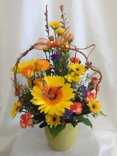 Sunshine Melody Yellow and Orange Bouquet by Enchanted Florist Pasadena TX. Bright happy get well soon flowers in Houston TX. RM159