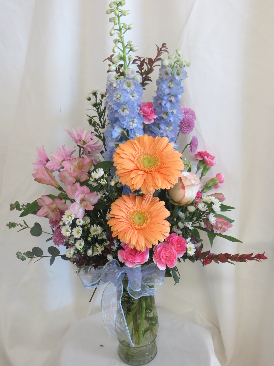 Romantic pastel flowers with same day delivery in houston tx spring time romance pastel flower arrangement by enchanted florist pasadena tx romantic pastel flowers in mightylinksfo