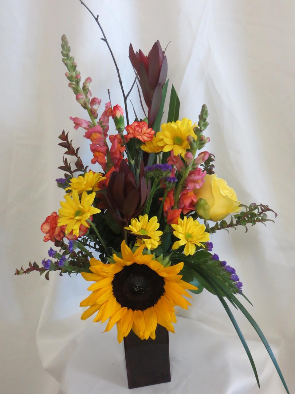 Fancy Free Sunflower Rose Bouquet