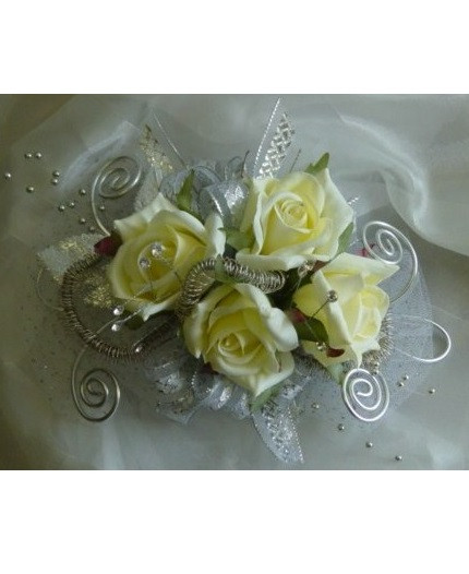 White Rose Corsage For Prom With Silver Trim Pasadena Tx