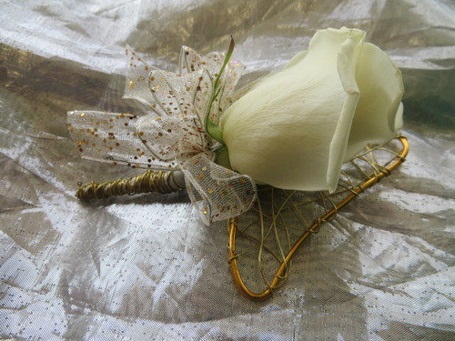 Gold Trimmed White Rose Boutonniere Prom Flower by Enchanted Florist Pasadena TX.