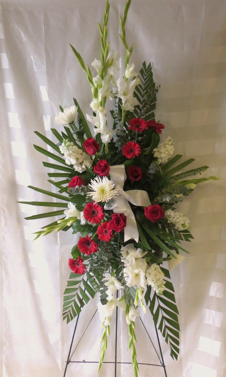 Red And White Funeral Flowers On A Stand For Delivery In Houston Tx