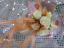 Orange Trimmed White Rose Corsage Prom Flower by Enchanted Florist Pasadena TX. Prom flowers in Pasadena TX for local high schools. Custom prom flowers Pasadena TX. PROM108