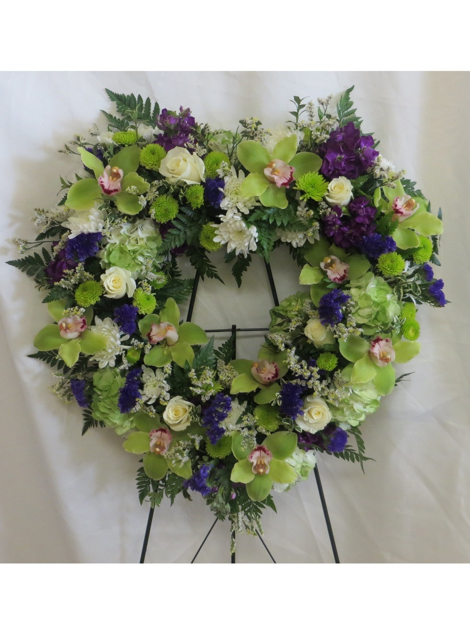 With All My Heart Wreath Green Cymbidium Orchids Houston Funeral