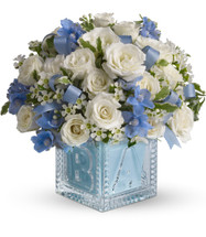 Crystal Block New Baby Boy Flower Bouquet by Enchanted Florist Pasadena TX. Send new baby boy flowers in the adorable keepsake crystal block. Includes miniature white spray roses, the blue flowers are delphinium and ribbons tucked in. Simply stunning, just like a new baby! RM306