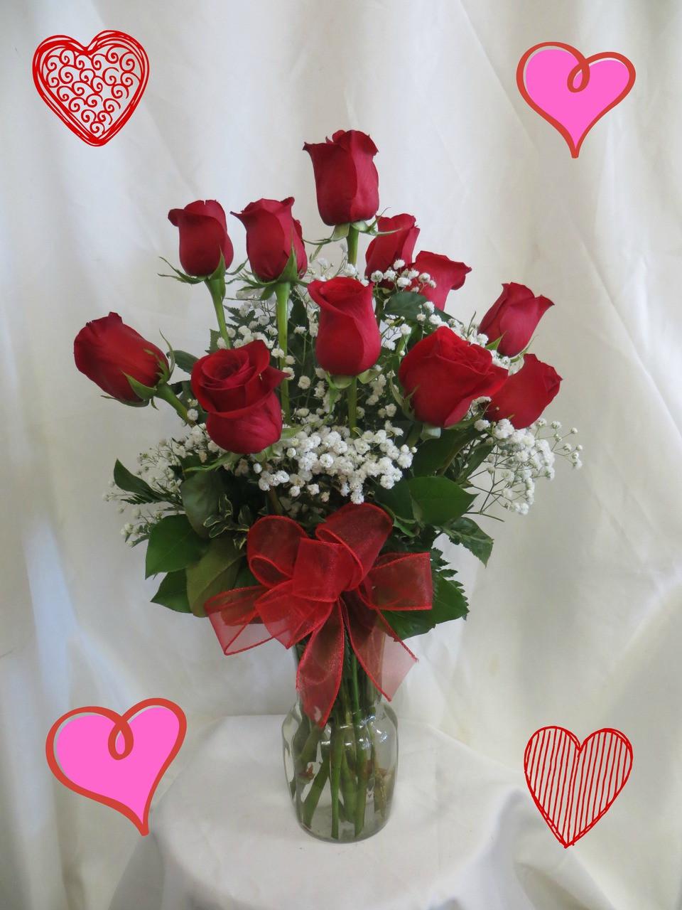 1 dozen radiant red roses in vase valentines day delivery