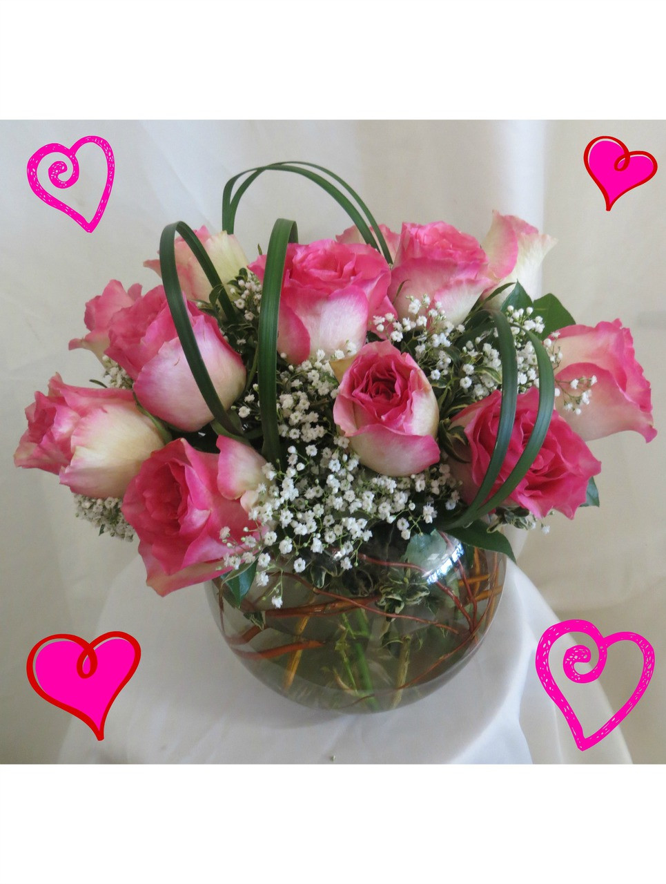 1 Dozen Beautiful Pink White Roses In A Bowl Valentines