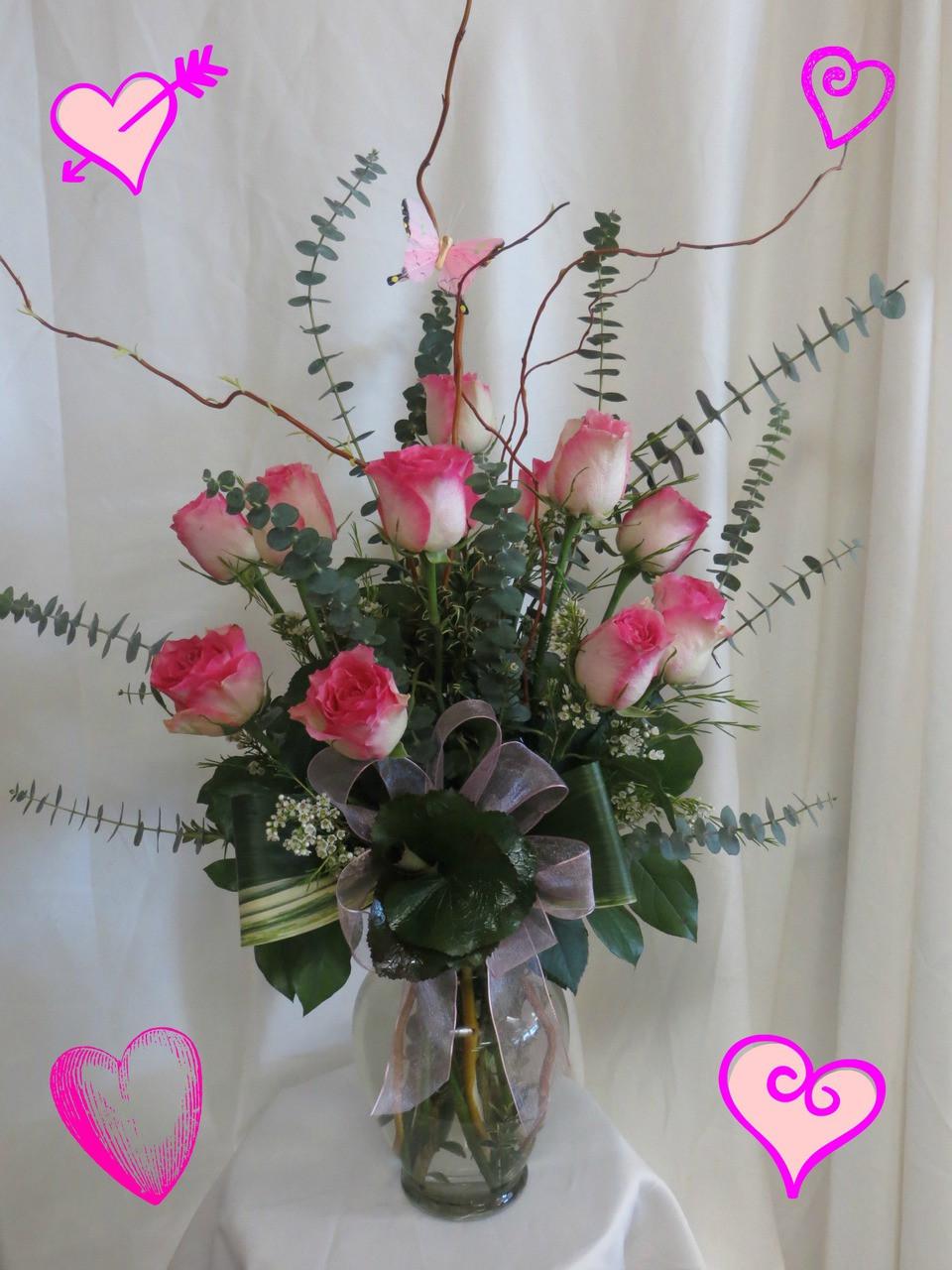 Pink Fire Ice Premium 1 Dozen Roses In Vase 832850 7677
