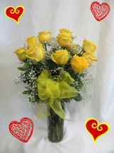 Yellow Dozen Roses for Valentines Day by Enchanted Florist Pasadena TX - because not everyone likes red roses. Our premium Ecuadorian yellow roses come expertly arranged in a vase with babys breath and a bow. RM915