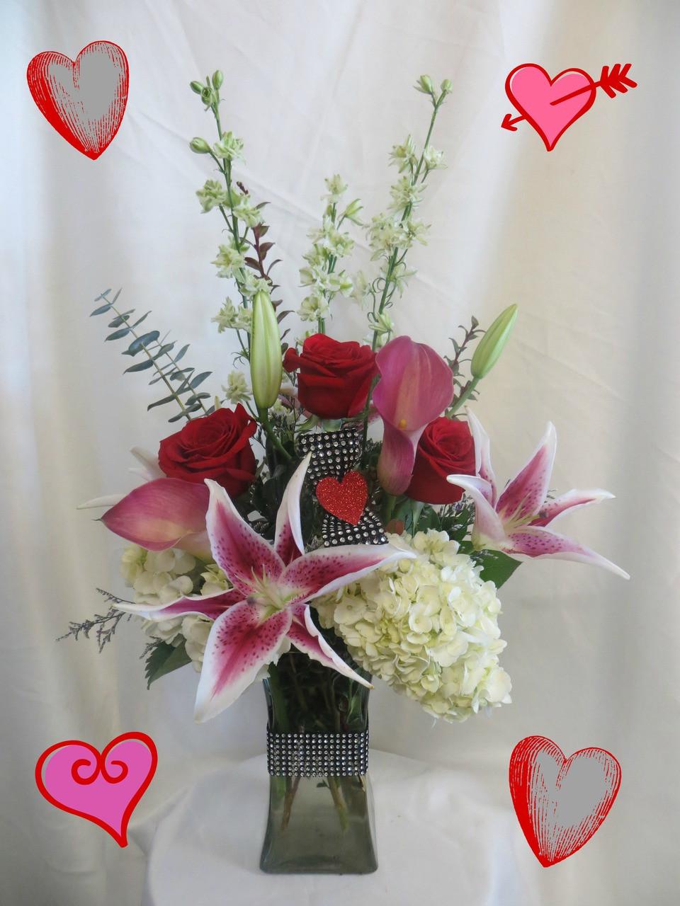 Blushing Love Bouquet Valentines Day Flower Arrangements