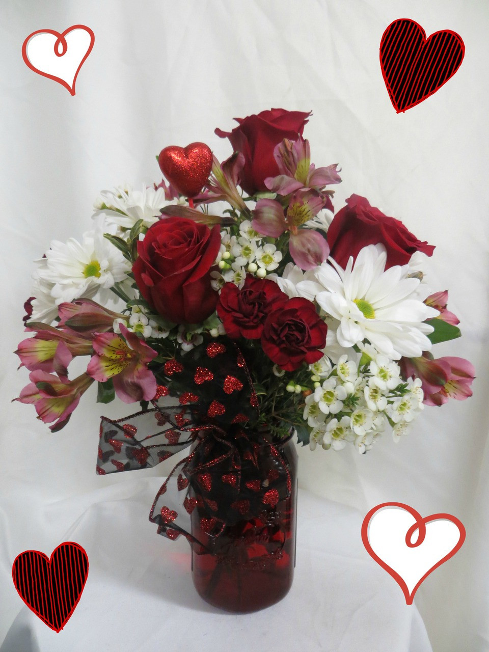 Valentines Country Love Bouquet Red Roses White Daisies