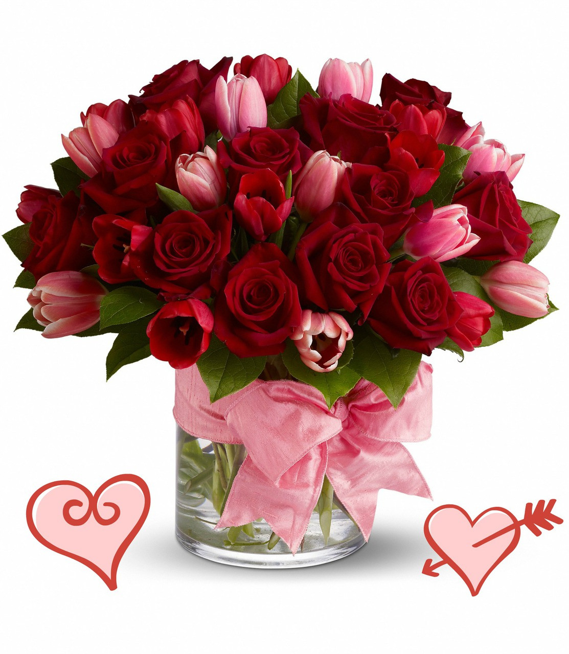 Ps I Love You Beautiful Tulips Red Roses Valentines Day