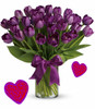 "30 Purple Tulips for Valentines Day by Enchanted Florist Pasadena TX.  Our thirty purple tulips are long lasting and a beautiful non traditional option for Valentines Day for when your special someone wants you to think outside the box.  RM944      Approx 16""W x 17""H"