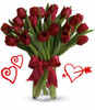 20 Red Tulips for Valentines Day by Enchanted Florist Pasadena TX.  Twenty red tulips are long lasting and a beautiful non traditional option for Valentines Day for when your special someone wants you to think outside the box, but still want something in the traditional red colors. RM946